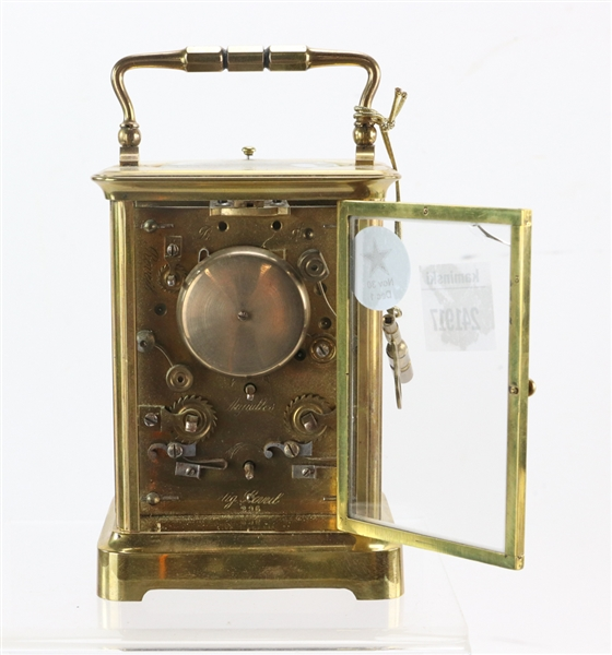 French Glass and Brass Carriage Clock
