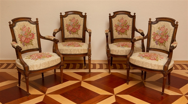 Set of (4) Louis XVI Carved Oak Armchairs