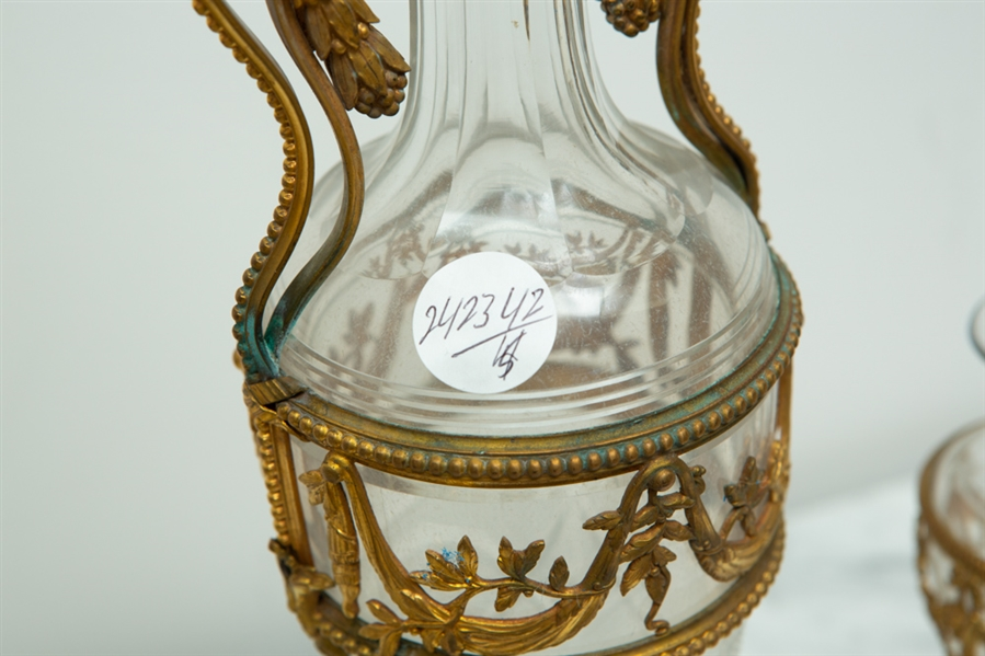Group of Vases, 19thC Bronze and Crystal
