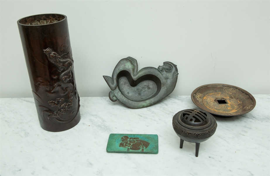 Bronze and Metal Group, Censer, Vase, etc