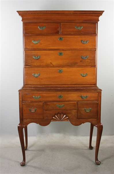 18thC Connecticut Cherry Queen Anne Highboy