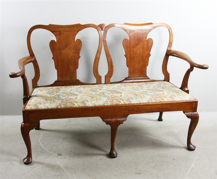 18thC George I Walnut Double Chairback Settee