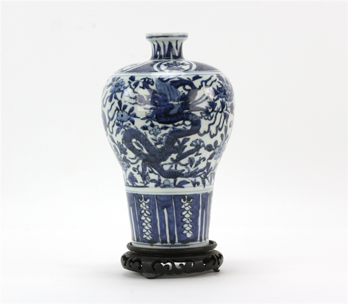 Chinese Blue and White Mei Dragon Vase