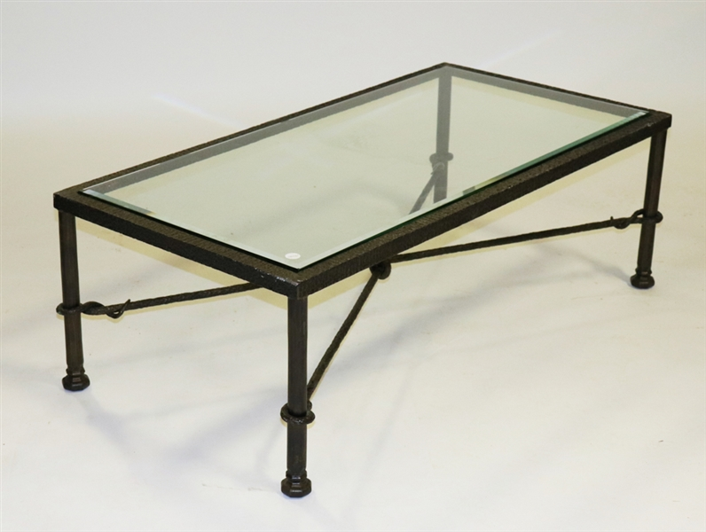 Manner of Giacometti, Glass Top Coffee Table
