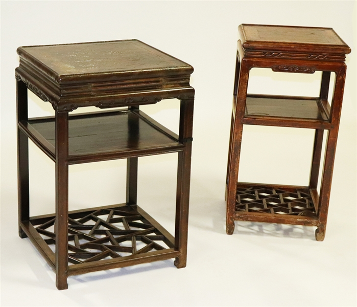 Pair of 19thC Chinese Tall Side Tables