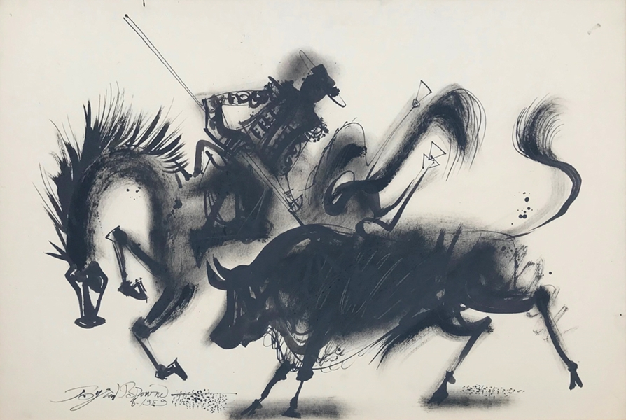 Byron Browne, El Picador, Ink Drawing