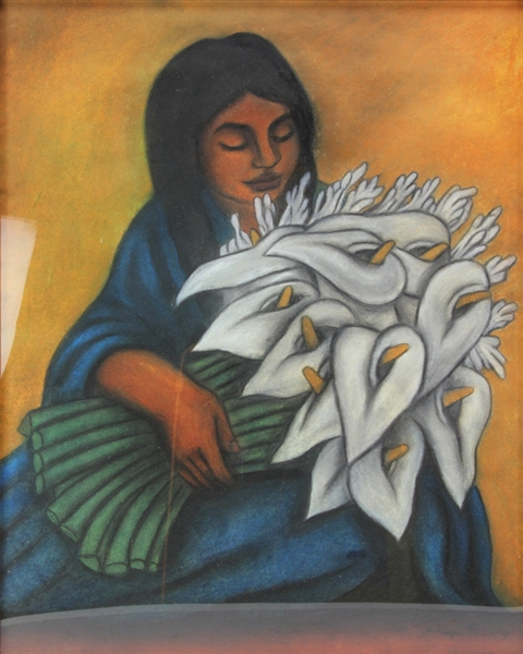 In Manner of Rivera, Woman with Calla Lilies, Pastel