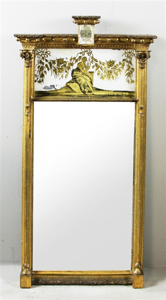 Large Neoclassical Eglomise Mirror