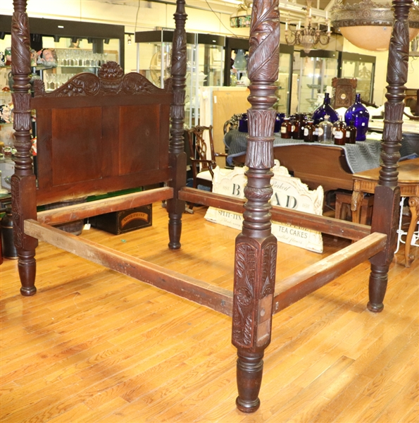 Early Carved Mahogany Canopy Bed