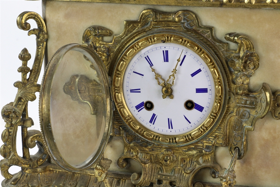 Circa 1880s English Marble and Bronze Clock