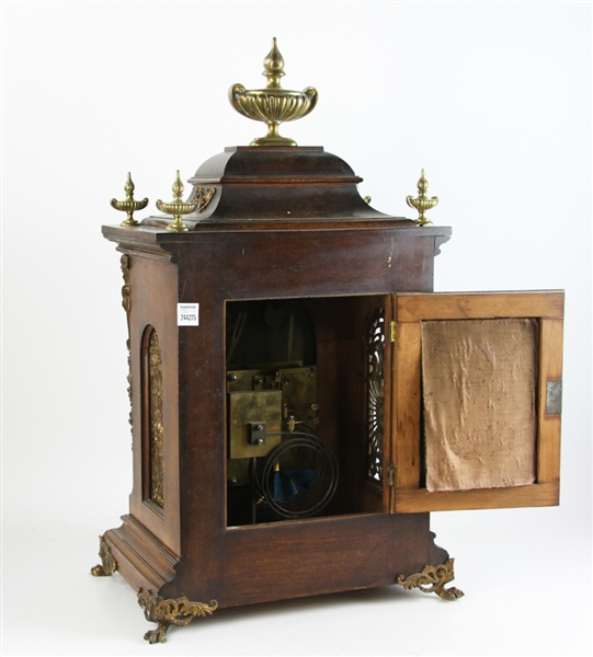 English Mahogany and Bronze Mantel Clock