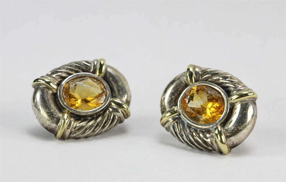 David Yurman Sterling and 14k Citrine Earrings