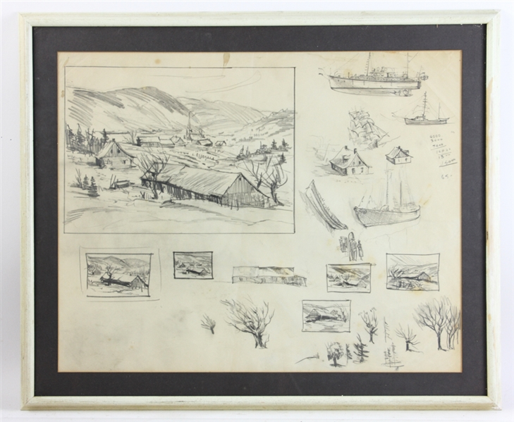 Jack L. Gray, Signed Pencil Sketches