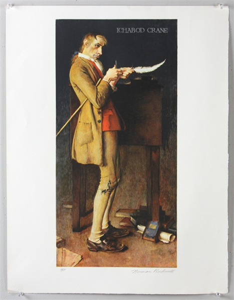 Norman Rockwell, Ichabod Crane, Colored Lithograph