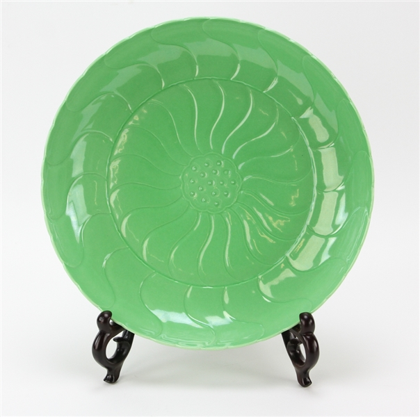 Chinese Green Glazed Plate, Lotus Design