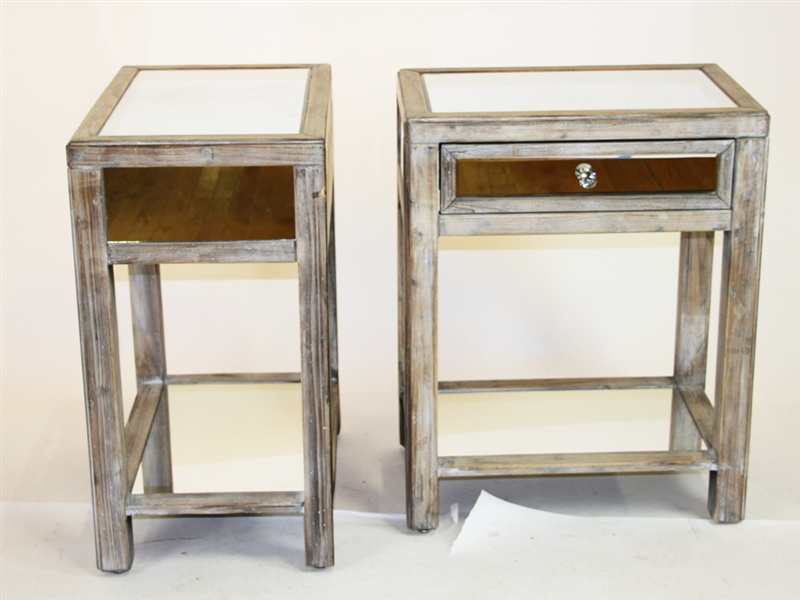 Pair of Mirrored Stands