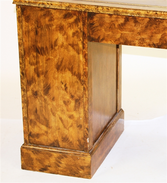 Faux Grain Brown Leather Top Knee Hole Desk