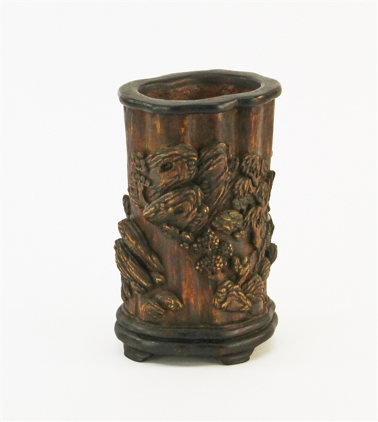 Chinese Carved Chen Xiang Wood Brush Pot