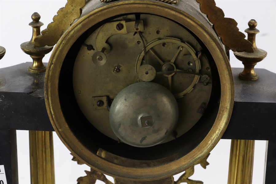 19thC French Bronze and Slate Clock