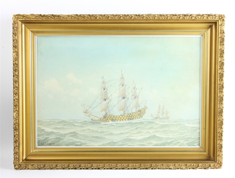 Fred Cozzens, Ships at Sea, Watercolor and Gouache