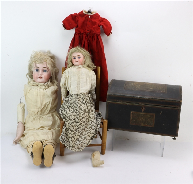 Two Vintage Dolls, Chair and Clothes