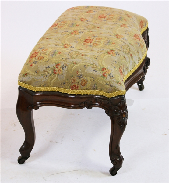 Victorian Bench with Embroidered Seat