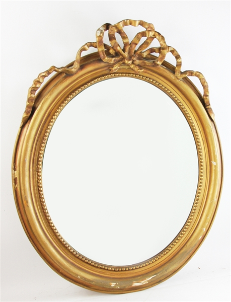19thC French Style Mirror with Ribbon Crest