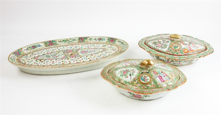 Chinese Rose Medallion Fish Tray and Dishes