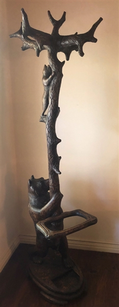 Antique Black Forest Carved Hall Tree