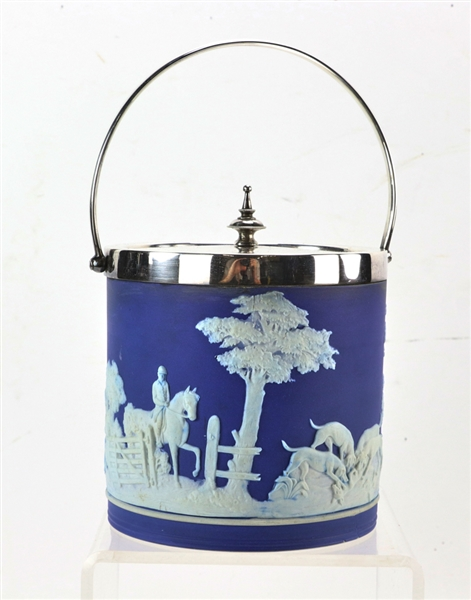 Wedgwood Blue and White Biscuit Covered Jar