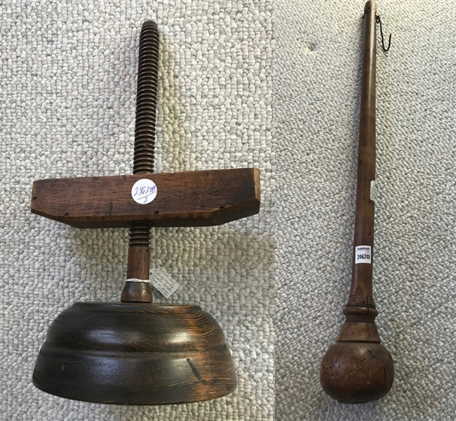 18thC Wood Scale with Wood Candlestick