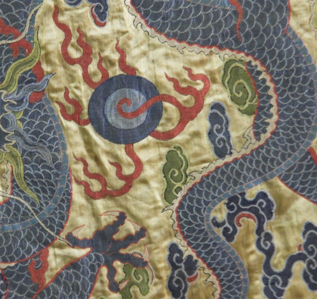 Large Chinese Embroidered Dragon Table Cover