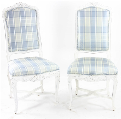 Pair Louis XVI Style Painted Chairs