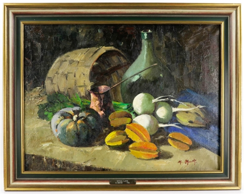 M. Martin, Still Life of Vegetables, Oil on Canvas