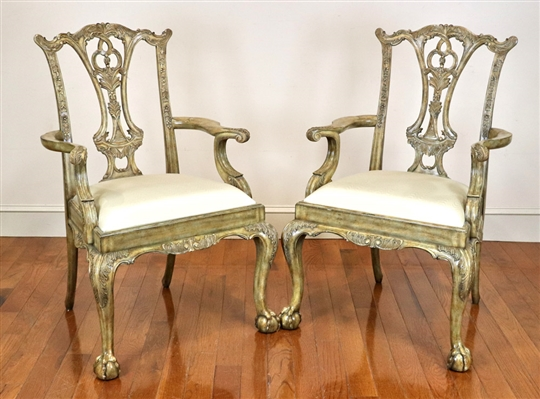Pair of French Style Carved Armchairs