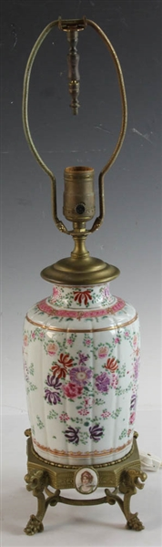 Pair of Brass Mounted Porcelain Lamps