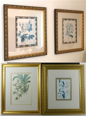 Four Custom Framed Botanical Prints