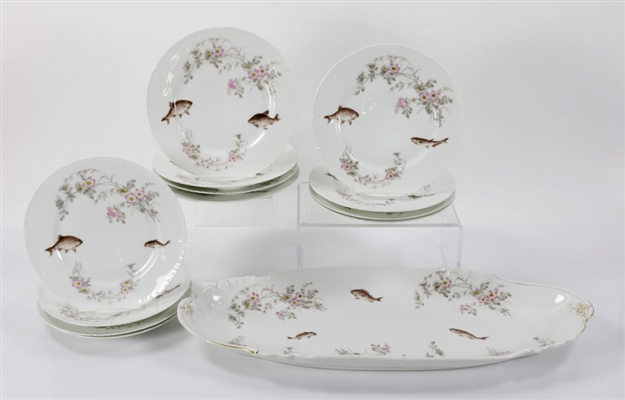Limoges Floral Fish Plate and Platter Set