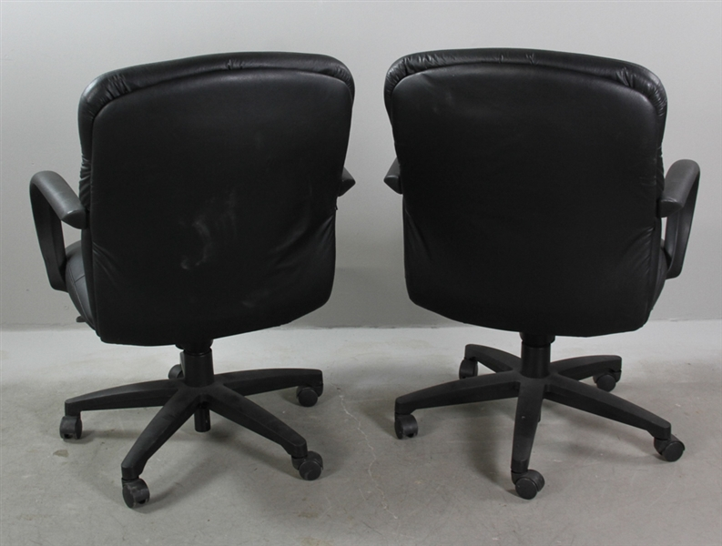 Pair of Faux Leather Office Armchairs