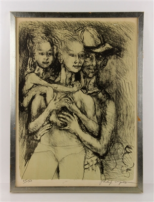Philip Evergood, 3 Figures, Lithograph