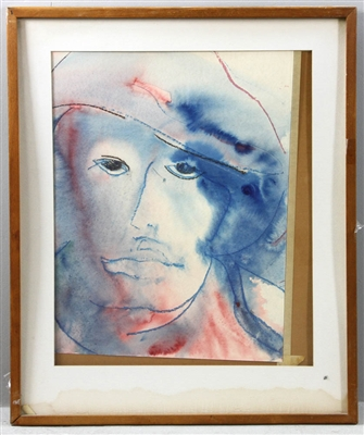 Watercolor Portrait of Man with Hat