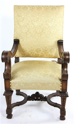 Carved and Upholstered Continental Chair