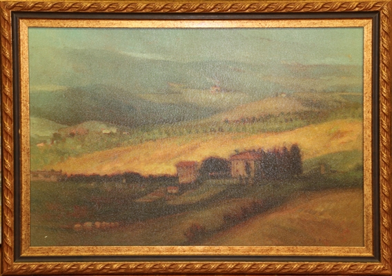 D. Harleine, Landscape, Oil on Board