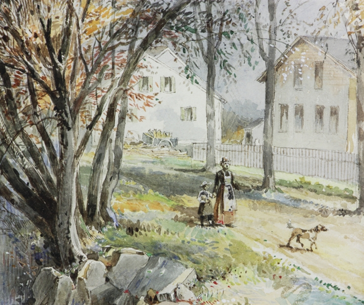 Henry W. Herrick, Autumn River View, Watercolor
