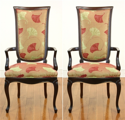 Pair of Fancy Mahogany Upholstered Armchairs