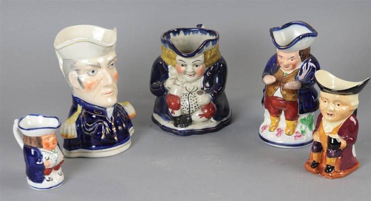 Group of Five Toby Jugs