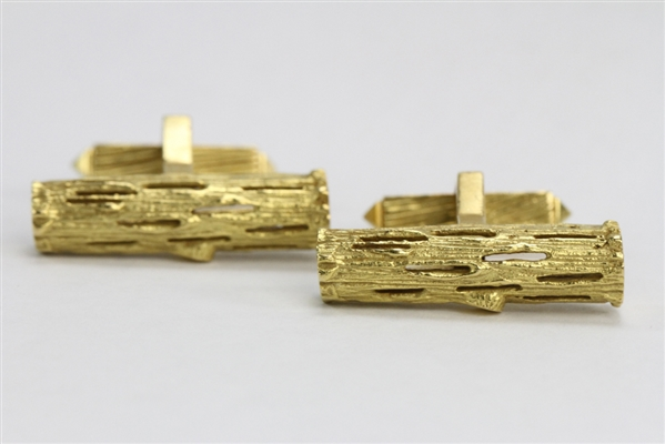 Pair of Signed Cartier 18k Yellow Gold Cufflinks