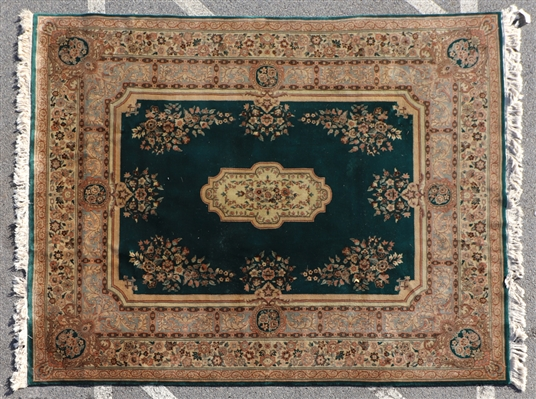 Kirman Rug with Green Field