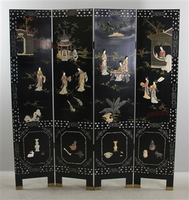 Oriental Carved Four Panel Screen