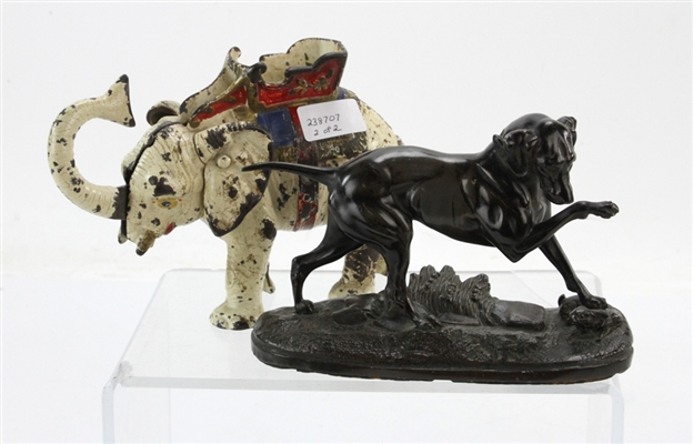 19th Figural Hunting Dog and Figural Elephant Bank